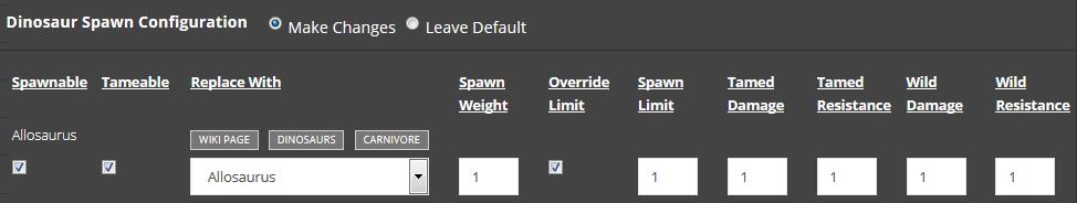 ARK Dino Spawn Configurations - Survival Servers